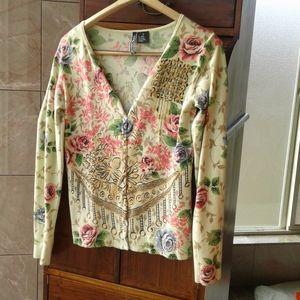 Charlotte Tarantola floral cardigan w/bead embroid